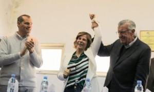 Gioja desembarcó en el PJ platense para apuntalar la candidatura de Saintout